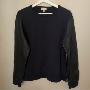 Club Monaco Sweatshirt Leather Sleeve Crewneck